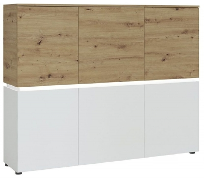 Luci White and Oak 6 Door Cabinet with LED Light