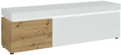 Luci White and Oak Wide TV Unit with LED Light