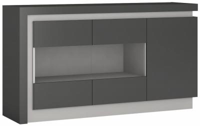 Lyon Glazed Sideboard - Platinum and Light Grey Gloss