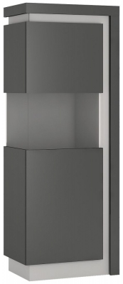 Lyon Large Narrow Left Hand Facing Display Cabinet - Platinum and Light Grey Gloss