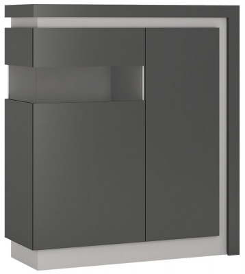 Lyon Left Hand Facing Designer Cabinet - Platinum and Light Grey Gloss