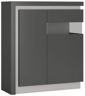 Lyon Right Hand Facing Designer Cabinet - Platinum and Light Grey Gloss