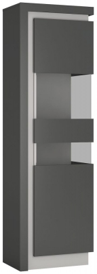 Lyon Tall Narrow Right Hand Facing Display Cabinet - Platinum and Light Grey Gloss