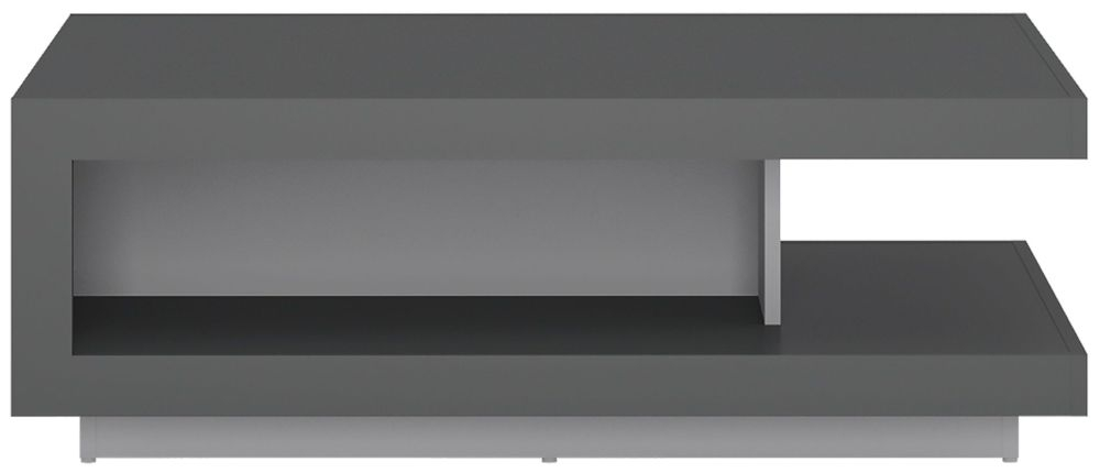 Lyon Designer Coffee Table - Platinum and Light Grey Gloss