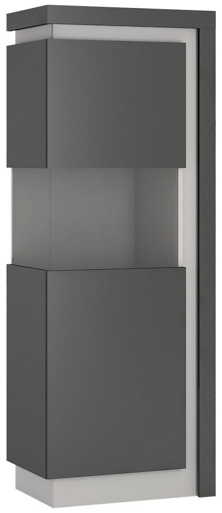 Lyon Large Narrow Left Hand Facing Display Cabinet - Platinum and Light Grey Gloss