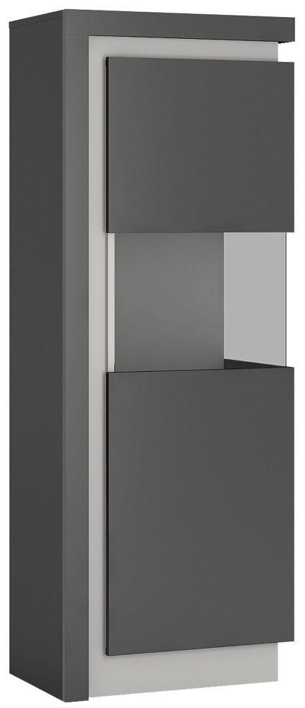 Lyon Large Narrow Right Hand Facing Display Cabinet - Platinum and Light Grey Gloss