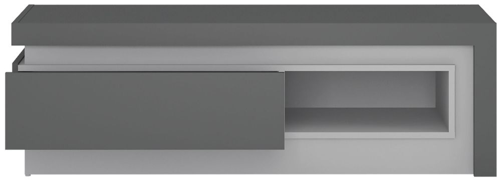 Lyon TV Cabinet - Platinum and Light Grey Gloss