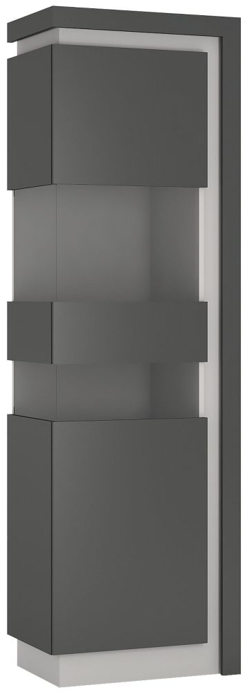 Lyon Tall Narrow Left Hand Facing Display Cabinet - Platinum and Light Grey Gloss