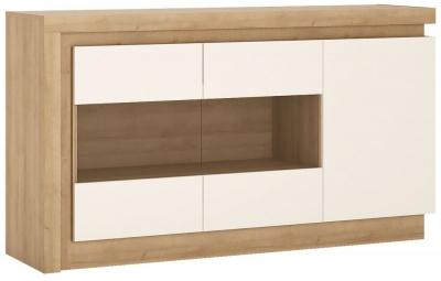 Lyon Glazed Sideboard - Riviera Oak and High Gloss White
