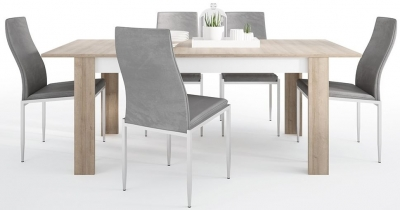 Lyon Large Extending Dining Table and 6 Milan Grey Chairs - Riviera Oak and High Gloss White