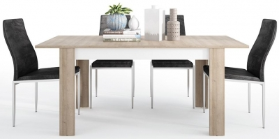 Lyon Medium Extending Dining Table and 4 Milan Black Chairs - Riviera Oak and High Gloss White