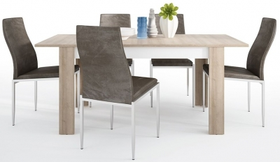 Lyon Medium Extending Dining Table and 4 Milan Dark Brown Chairs - Riviera Oak and High Gloss White
