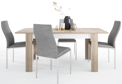 Lyon Medium Extending Dining Table and 4 Milan Grey Chairs - Riviera Oak and High Gloss White