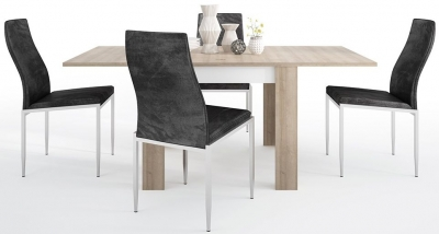 Lyon Small Extending Dining Table and 6 Milan Black Chairs - Riviera Oak and High Gloss White