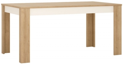 Lyon Large Extending Dining Table - Riviera Oak and High Gloss White