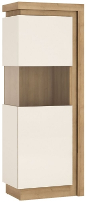 Lyon Large Narrow Left Hand Facing Display Cabinet - Riviera Oak and High Gloss White