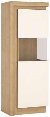 Lyon Large Narrow Right Hand Facing Display Cabinet - Riviera Oak and High Gloss White