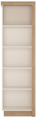 Lyon Left Hand Facing Bookcase - Riviera Oak and High Gloss White