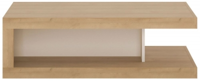 Lyon On Wheels Designer Coffee Table - Riviera Oak and High Gloss White