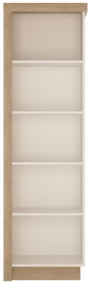 Lyon Right Hand Facing Bookcase - Riviera Oak and High Gloss White