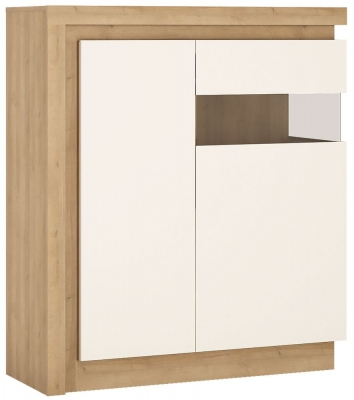 Lyon Right Hand Facing Designer Cabinet - Riviera Oak and High Gloss White