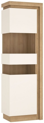 Lyon Tall Narrow Left Hand Facing Display Cabinet - Riviera Oak and High Gloss White