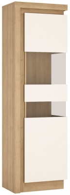 Lyon Tall Narrow Right Hand Facing Display Cabinet - Riviera Oak and High Gloss White