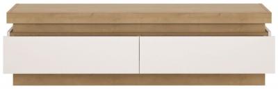 Lyon Wide TV Cabinet - Riviera Oak and High Gloss White