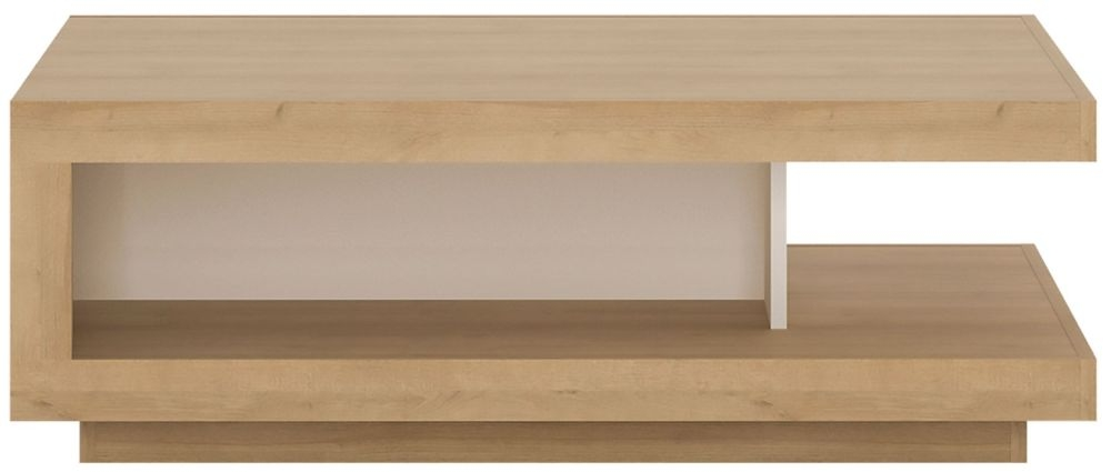 Lyon Designer Coffee Table - Riviera Oak and High Gloss White