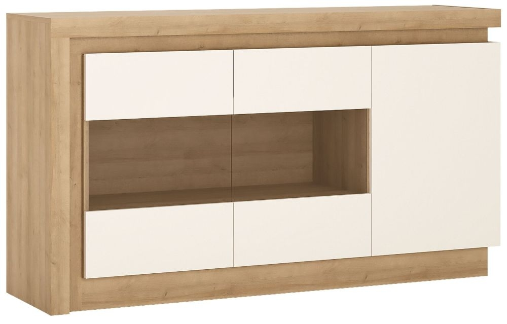 Lyon Glazed Sideboard - Riviera Oak and High Gloss White