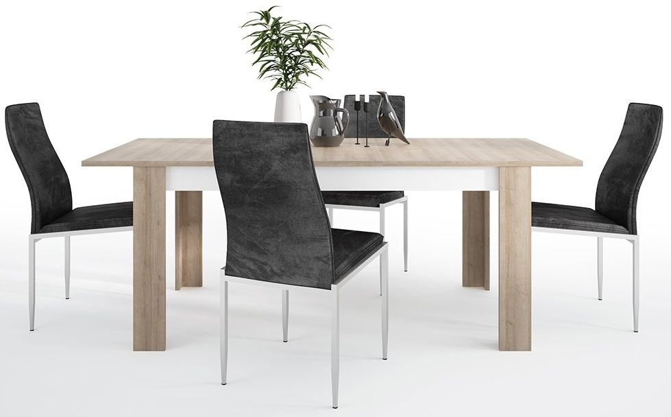 Lyon Large Extending Dining Table and 4 Milan Black Chairs - Riviera Oak and High Gloss White
