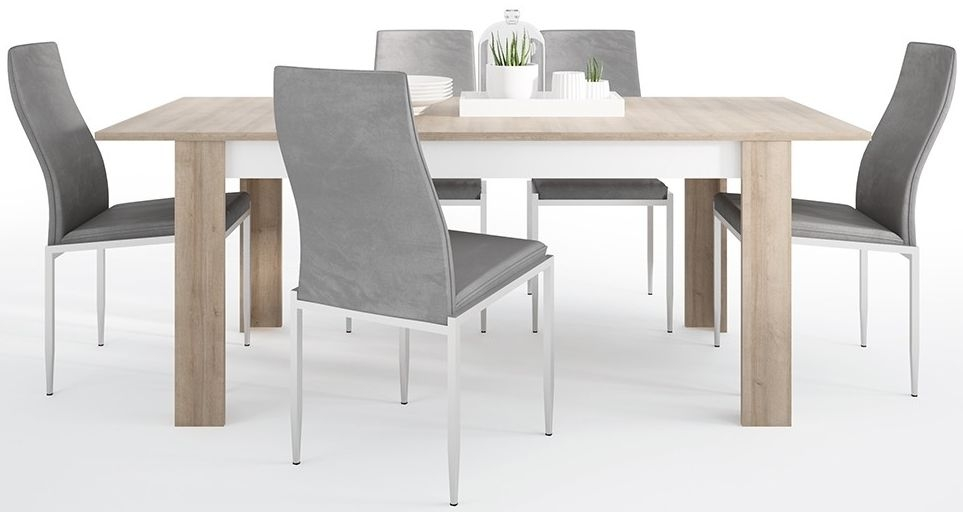 Lyon Large Extending Dining Table and 4 Milan Grey Chairs - Riviera Oak and High Gloss White