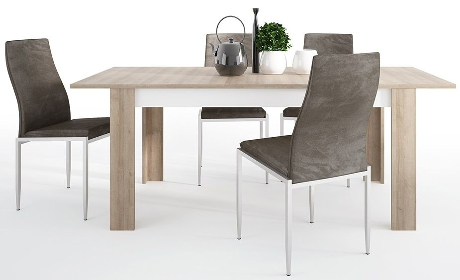 Lyon Large Extending Dining Table and 6 Milan Brown Chairs - Riviera Oak and High Gloss White