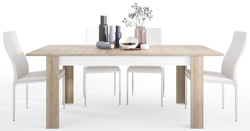Lyon Large Extending Dining Table and 6 Milan White Chairs - Riviera Oak and High Gloss White