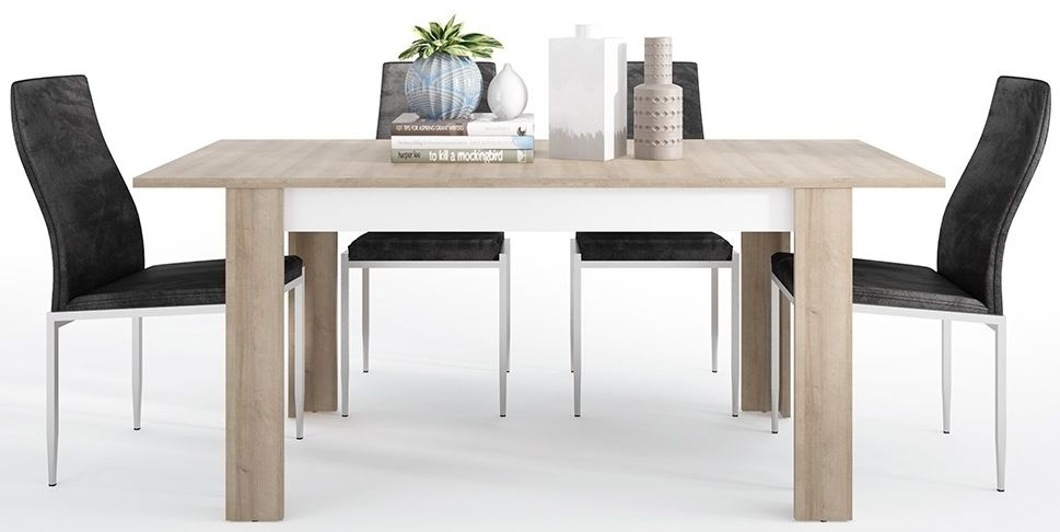 Lyon Medium Extending Dining Table and 6 Milan Black Chairs - Riviera Oak and High Gloss White