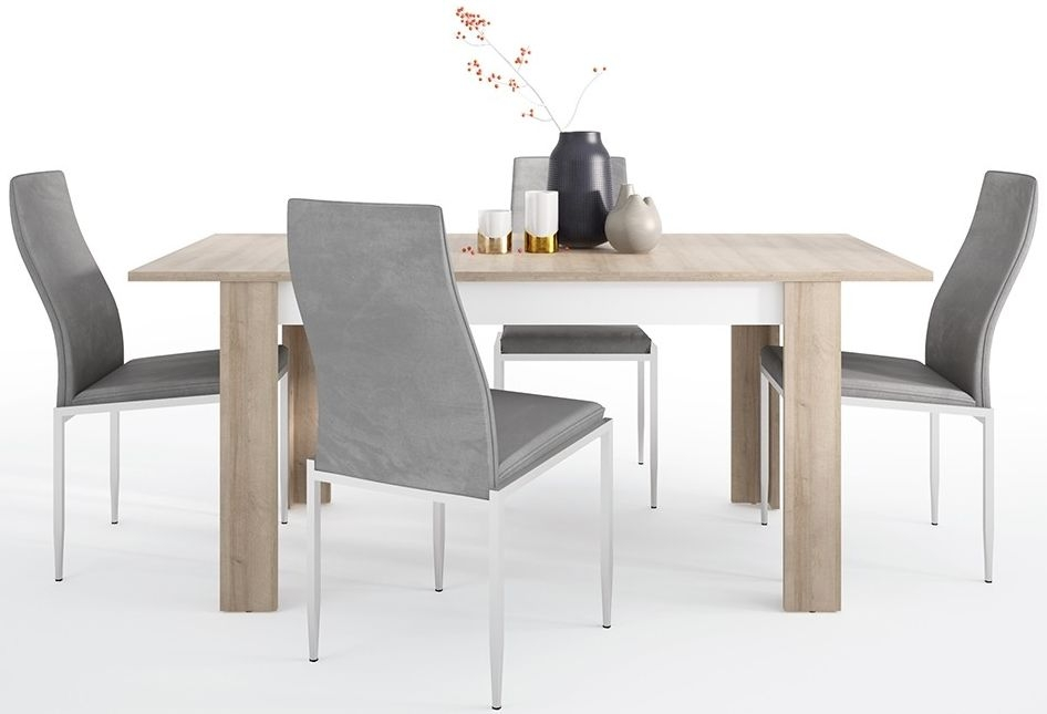Lyon Medium Extending Dining Table and 6 Milan Grey Chairs - Riviera Oak and High Gloss White