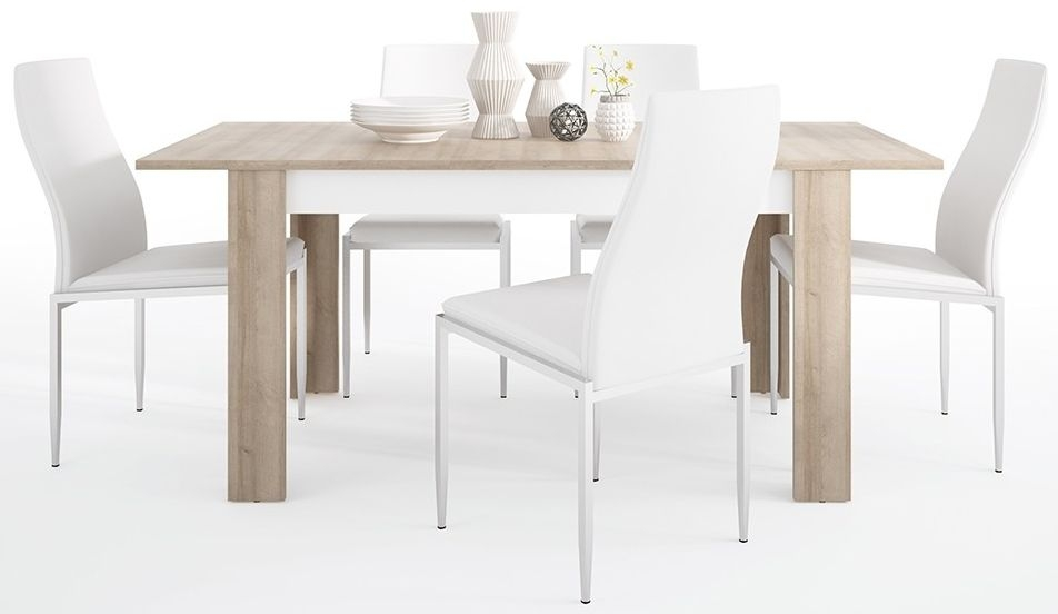 Lyon Medium Extending Dining Table and 6 Milan White Chairs - Riviera Oak and High Gloss White