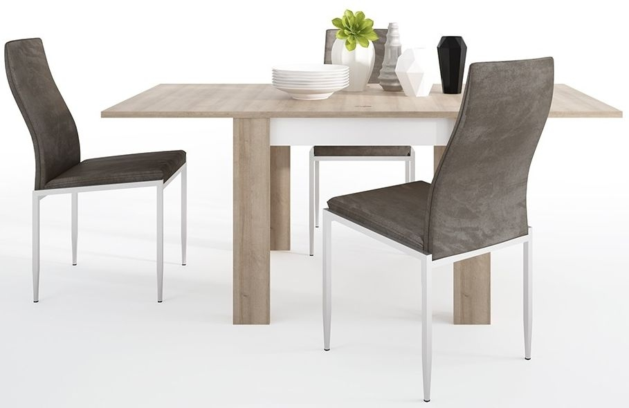 Lyon Small Extending Dining Table and 4 Milan Dark Brown Chairs - Riviera Oak and High Gloss White