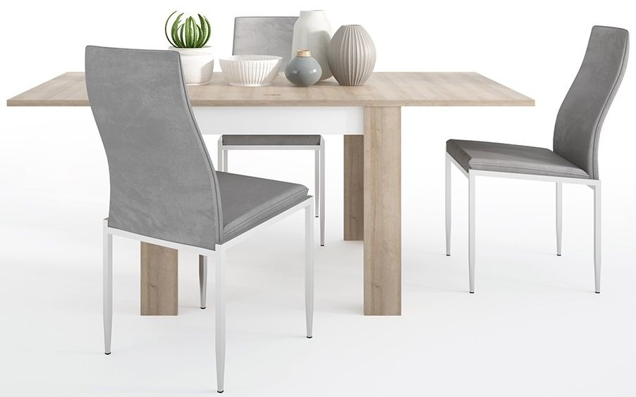Lyon Small Extending Dining Table and 4 Milan Grey Chairs - Riviera Oak and High Gloss White