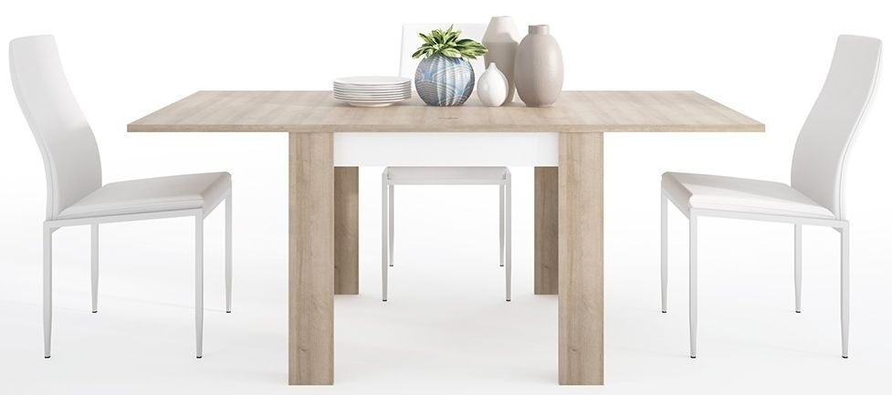 Superb Lyon Small Extending Dining Table And 4 Milan White Chairs Riviera Oak And High Gloss White Dailytribune Chair Design For Home Dailytribuneorg