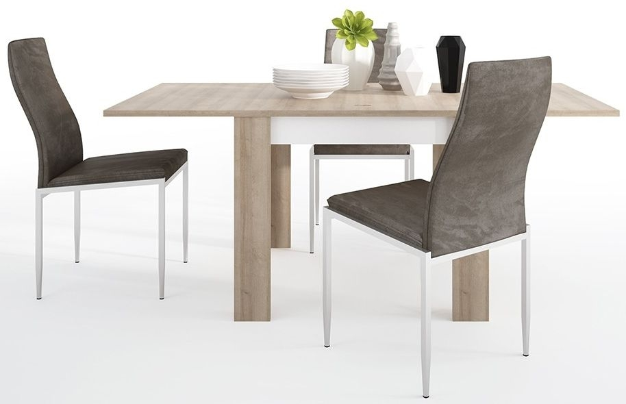 Lyon Small Extending Dining Table and 6 Milan Dark Brown Chairs - Riviera Oak and High Gloss White