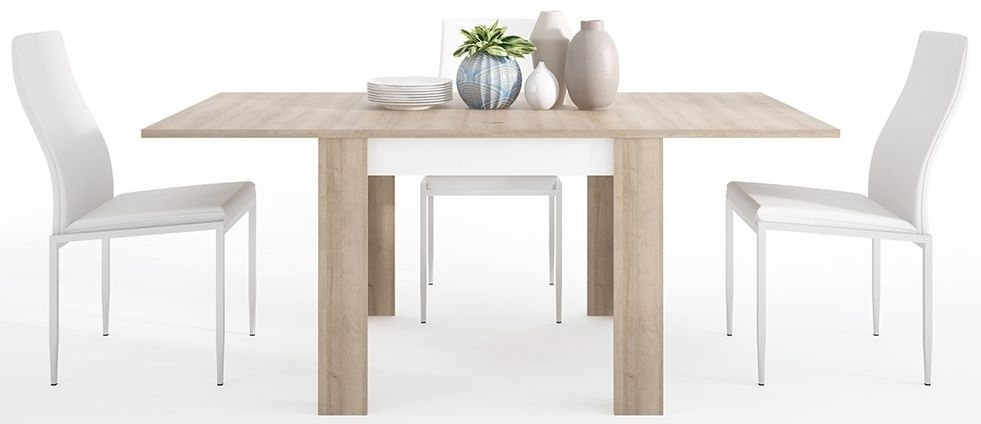 Lyon Small Extending Dining Table and 6 Milan White Chairs - Riviera Oak and High Gloss White