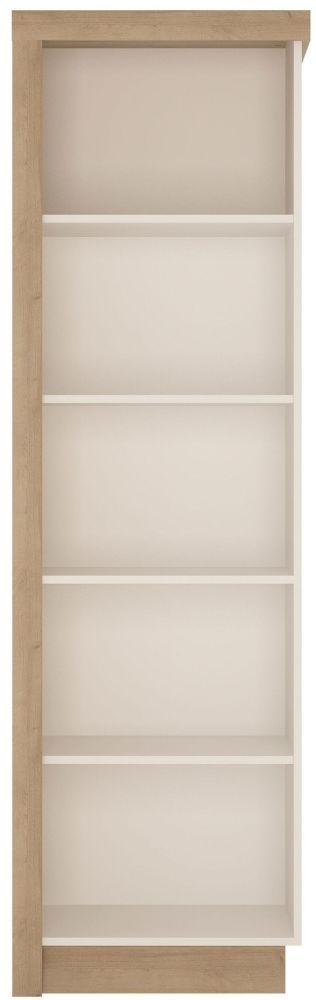 Lyon Right Hand Facing Bookcase - Riviera Oak and High Gloss White