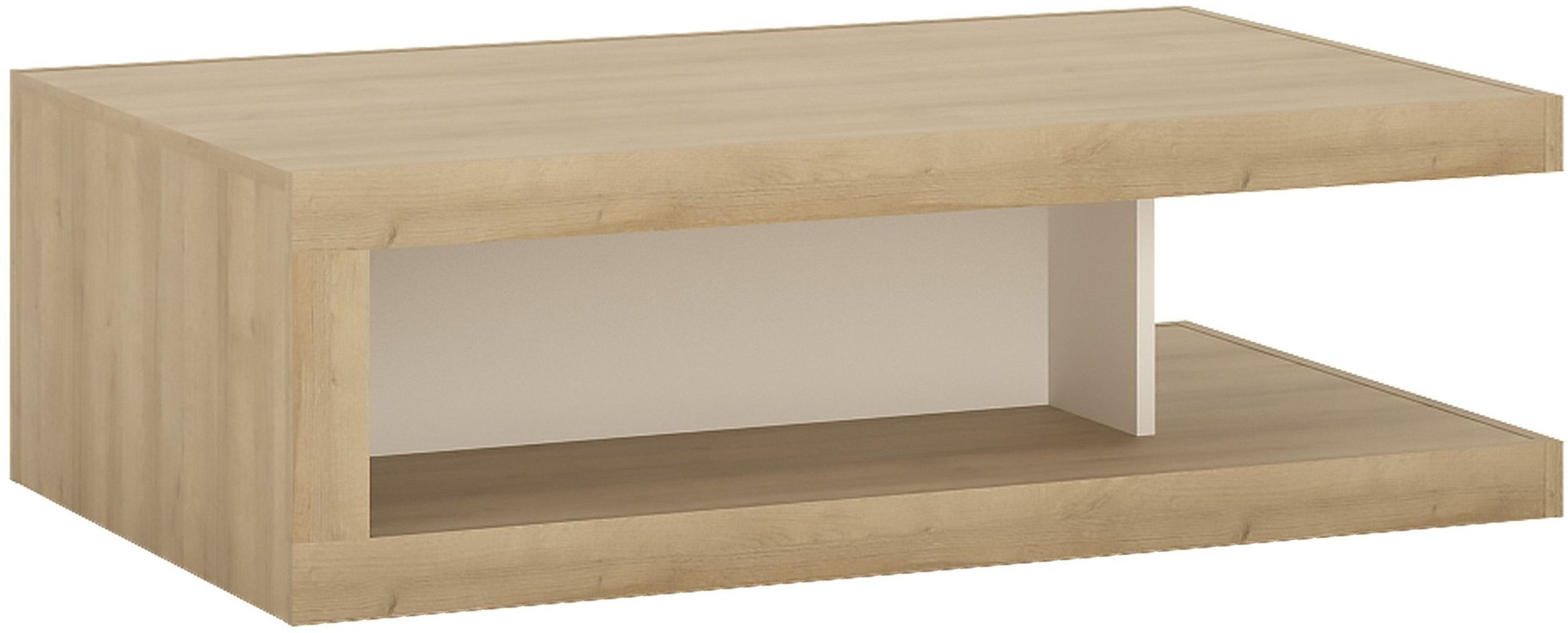 Buy Lyon Riviera Oak and White High Gloss Designer Coffee Table On