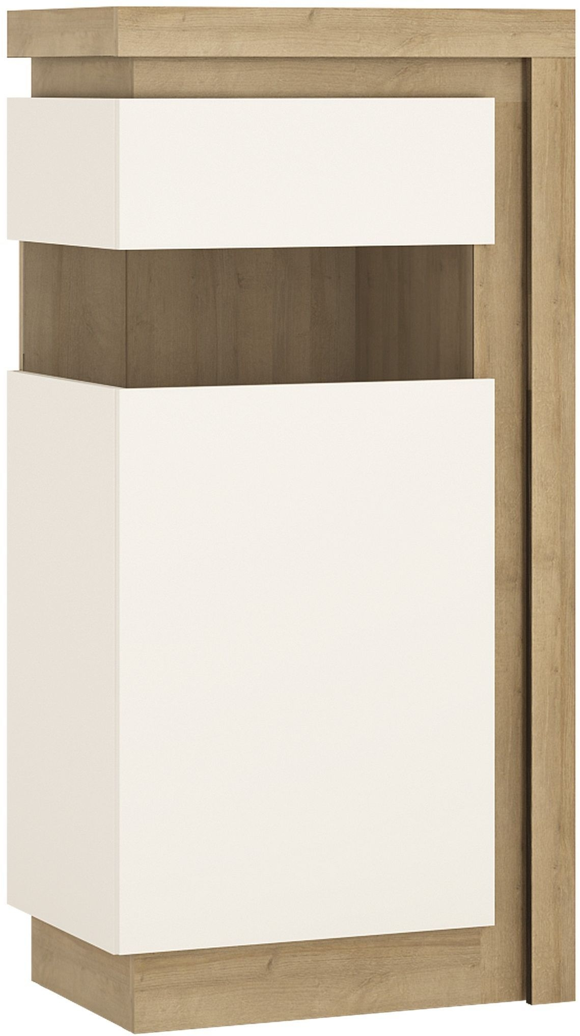 Lyon Riviera Oak and White High Gloss Display Cabinet - Small Narrow Left Hand (Including Led Lighti