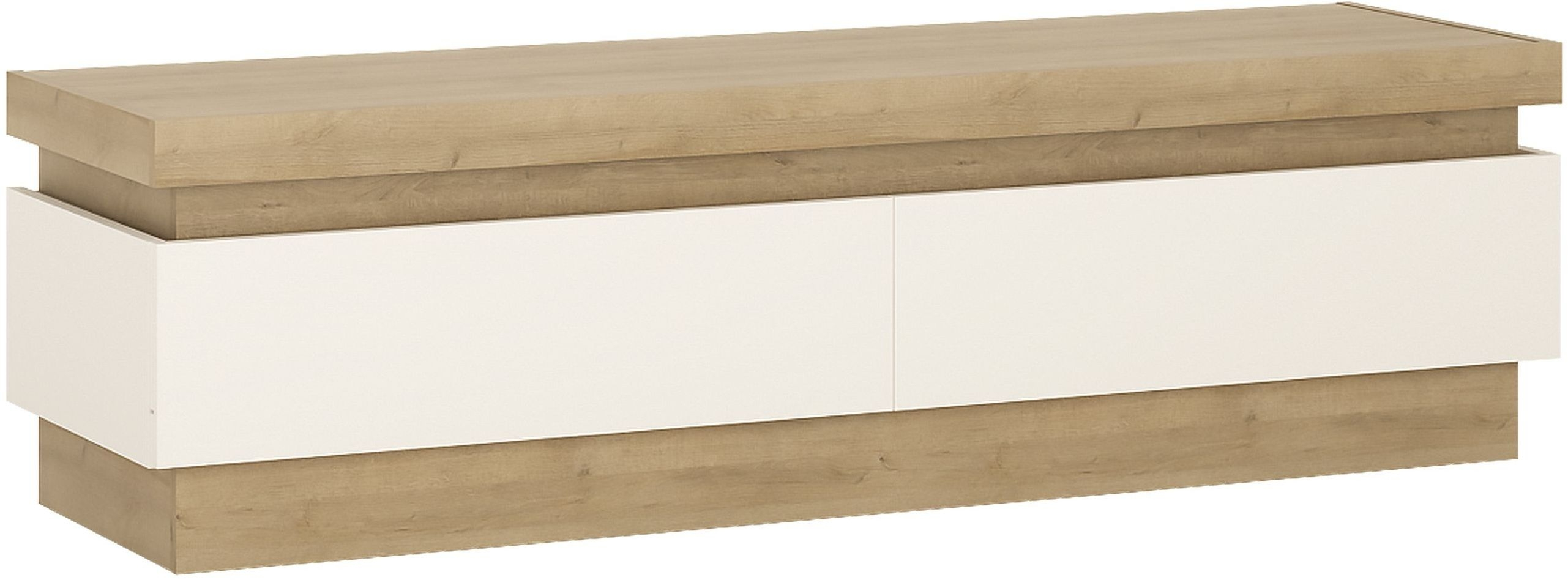 Lyon Riviera Oak and White High Gloss Tv Cabinet - 2 Drawer (Including Led Lighting)