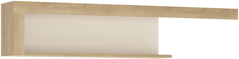 Buy Lyon Riviera Oak And White High Gloss Wall Shelf 130cm Online Cfs Uk CHOICEFURNITURESUPERSTORE