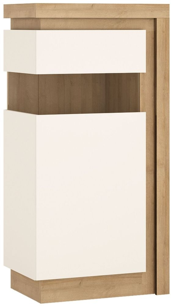 Lyon Small Narrow Left Hand Facing Display Cabinet - Riviera Oak and High Gloss White