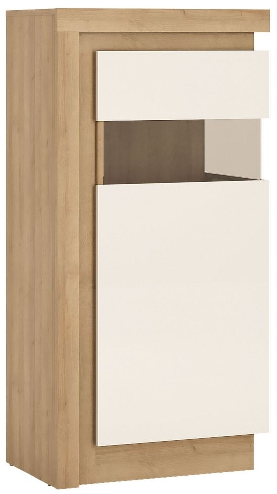 Lyon Small Narrow Right Hand Facing Display Cabinet - Riviera Oak and High Gloss White