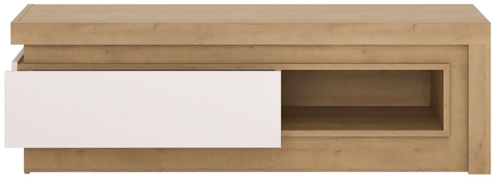 Lyon TV Cabinet - Riviera Oak and High Gloss White